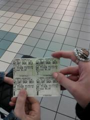 Holding the last Twilight tickets we will ever get to buy.